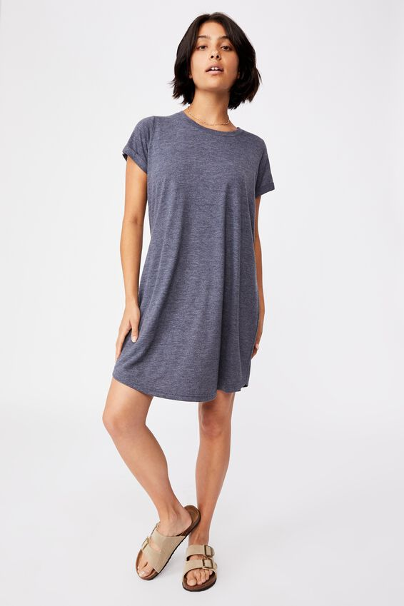 Tina Tshirt Dress 2, NAVY MARLE