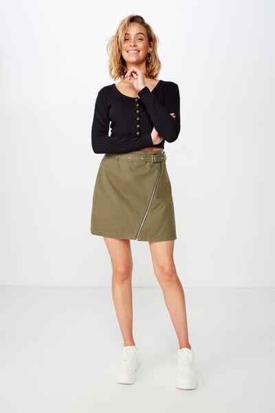 Woven Tyler Utility Skirt, OLIVE NIGHT