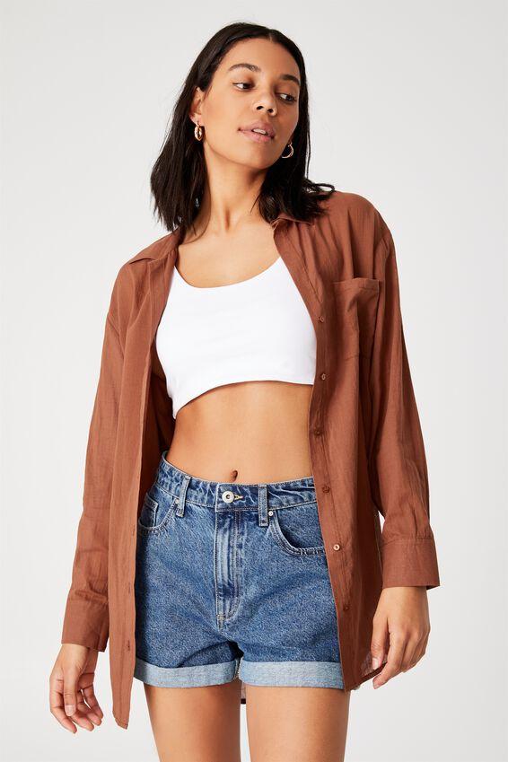Savannah Oversized Shirt, LEAF BROWN