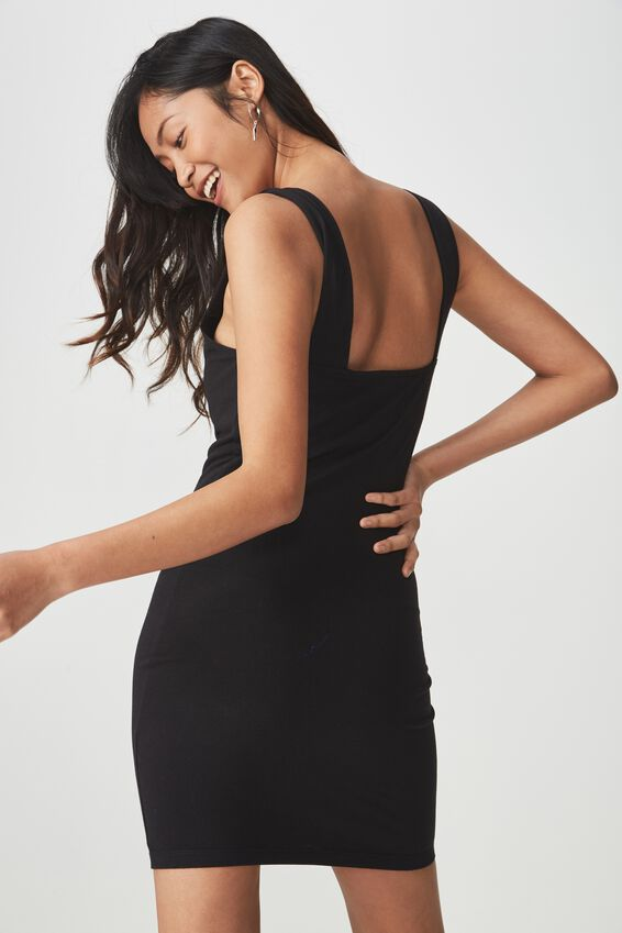 Peyton Square Neck Bodycon Mini Dress, BLACK
