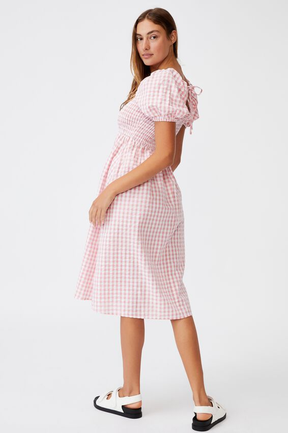 Woven Petite Leah Short Sleeve Midi Dress, GERI GINGHAM FAIRY FLOSS