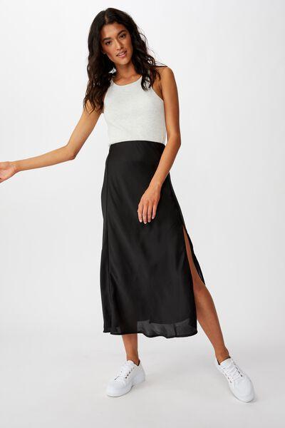 Belle Split Midi Skirt, BLACK
