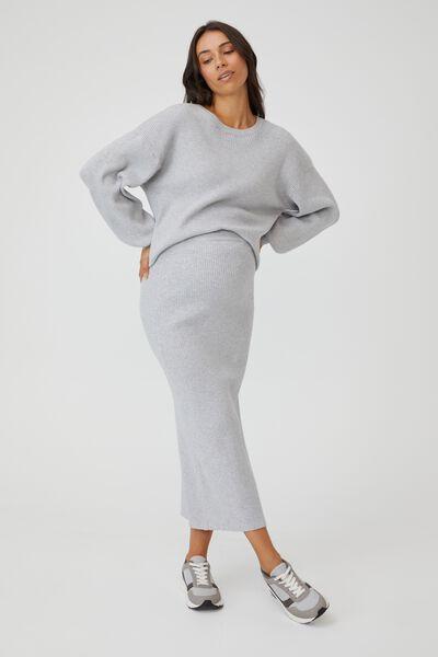 Maternity Friendly Ultimate Midi Skirt, GREY MARLE
