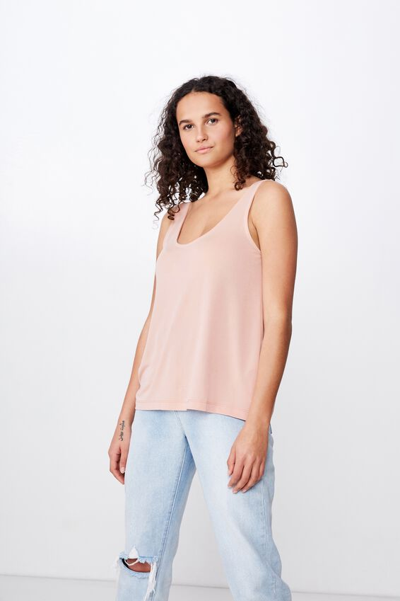 Tia Scooped High Low Tank, MISTY ROSE