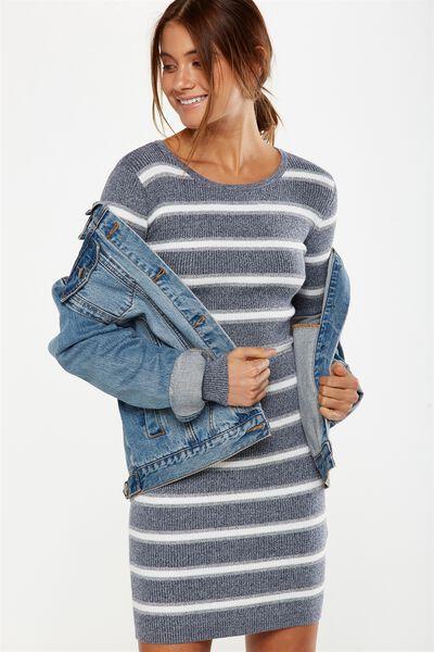 Sally Long Sleeve Midi Dress, MOONLIGHT/GREY MARL/WHITE SALMA STRIPE