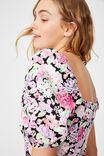 Woven Leona Bell Sleeve Mini Dress, JAMIE FLORAL MULTI BLACK