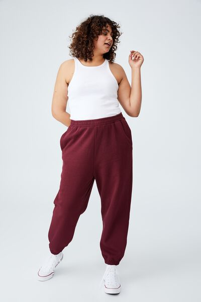 Curve Classic High Waist Track Pant, RICH BERRY