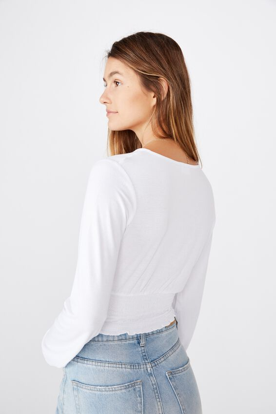 Cross Front Shirred Long Sleeve Top, WHITE