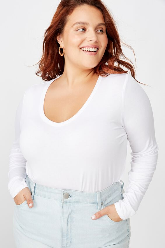 Curve Karly Long Sleeve Top, WHITE