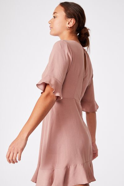 Woven Thelma Retro 3/4 Slv Fit And Flare Shift Min, ROSE TAUPE