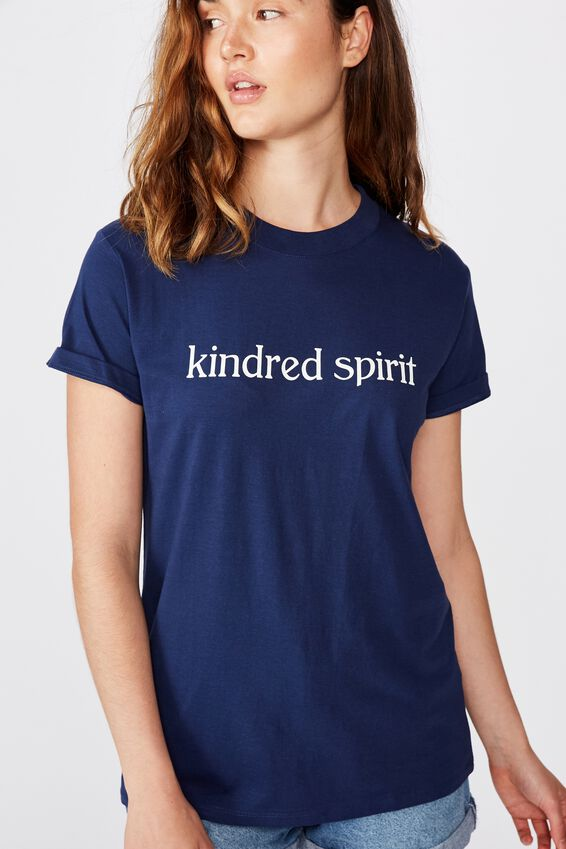 Classic Slogan T Shirt, KINDRED SPIRIT/MEDIEVAL BLUE
