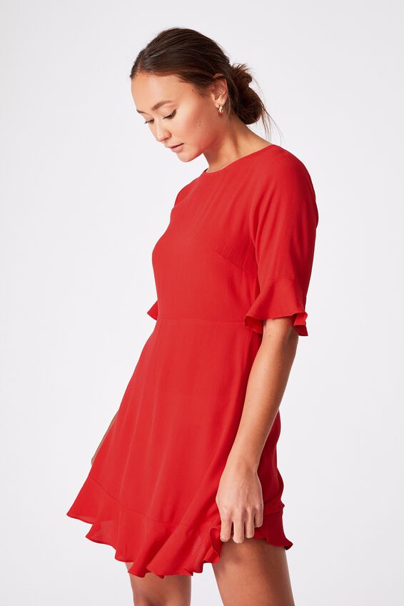 Woven Thelma Retro 3/4 Slv Fit And Flare Shift Min, LUCKY RED