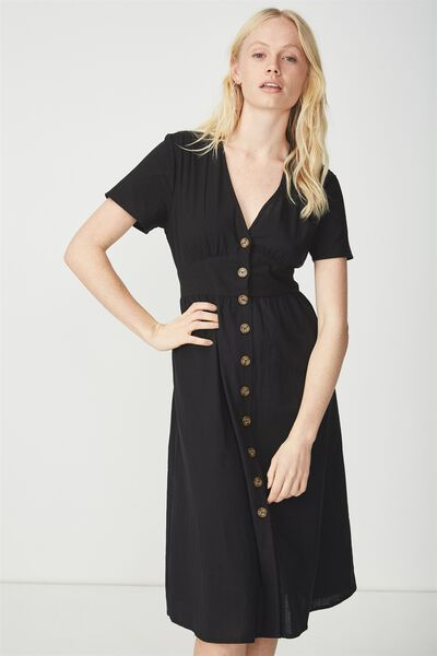 Woven Gigi Button Through Midi Dress, BLACK