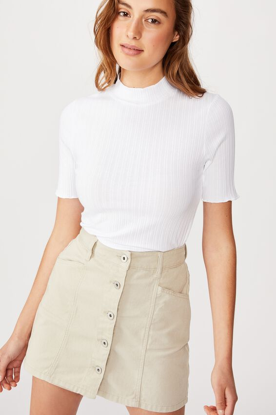 Beau Mock Neck Short Sleeve Top, WHITE