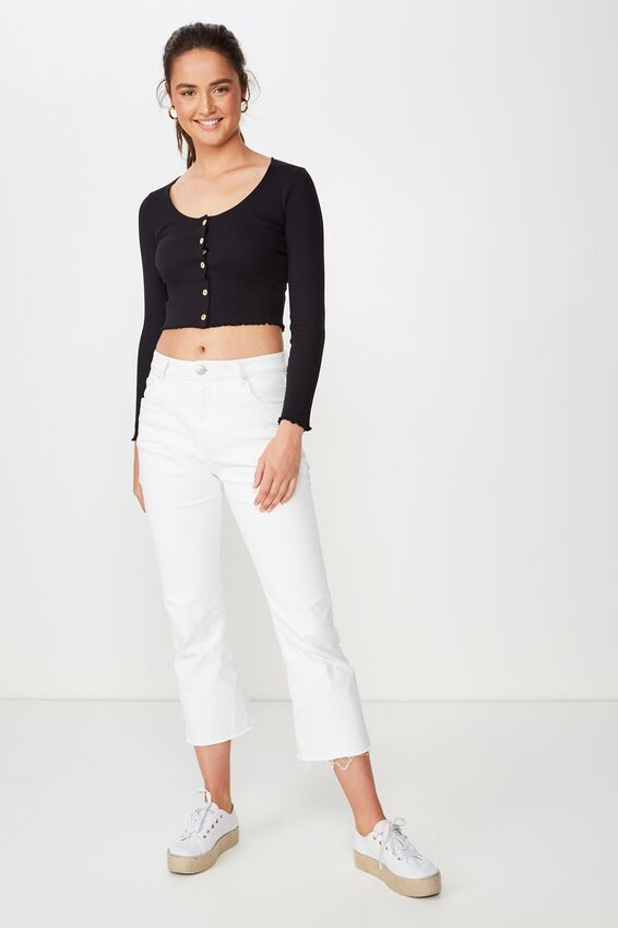 Tilda Cropped Henley Long Sleeve Top, BLACK