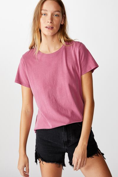 The One Crew Tee, WASHED ROSE WINE