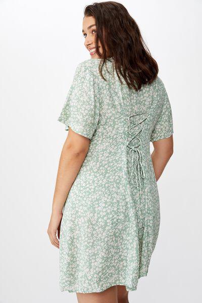 Curve Cindy Mini Dress, TAYLAH DITSY GREEN BAY