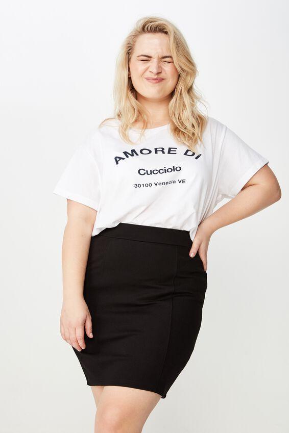 Curve Pencil Skirt, BLACK