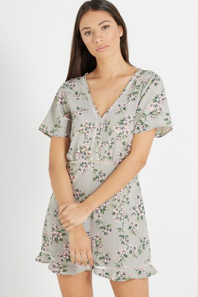 Woven Millie Playsuit, CHERRY BLOSSOM GREY