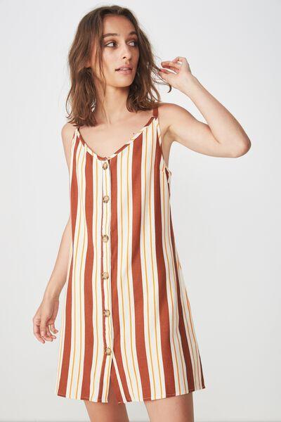 Woven Margot Slip Dress, BUTTON THROUGH KELLY STRIPE ARABIAN SPICE
