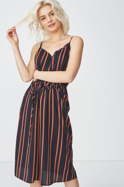 Woven Mimi Rouched Midi Dress, SALMA STRIPE DARK SAPPHIRE