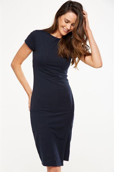 Anthea Short Sleeve Midi Dress, NAVY