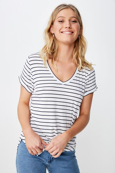 Karly Short Sleeve V Neck Top, CARL STRIPE WHITE/MOONLIGHT