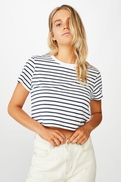 The One Baby Tee, COLE STRIPE WHITE/MOONLIGHT