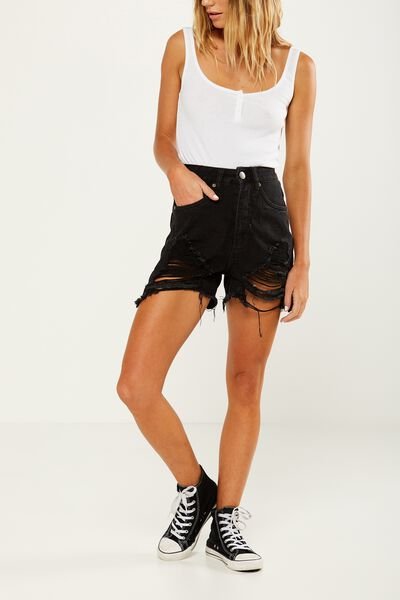 High Rise Flashback Denim Short, BLACK RIOT FRAY HEM