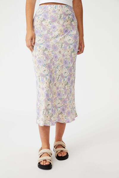 All Day Slip Skirt, DEVON FLORAL LILAC BLOOM