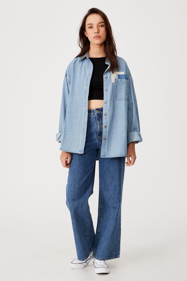 Denim Long Sleeve Shirt, HAVEN MID BLUE PATCH WORK