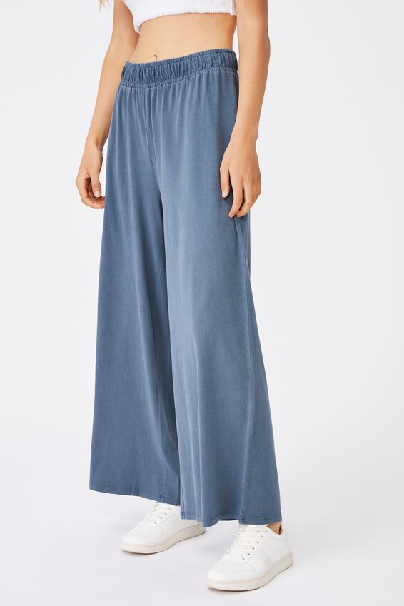 Wide Leg Lounge Track Pant, WASHED MIDNIGHT NAVY