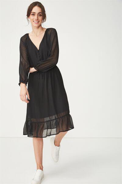 Woven Raquel Winter Maxi Dress, BLACK