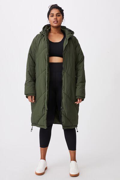 Curve Crinkle Longline Puffer Jacket, KHAKI