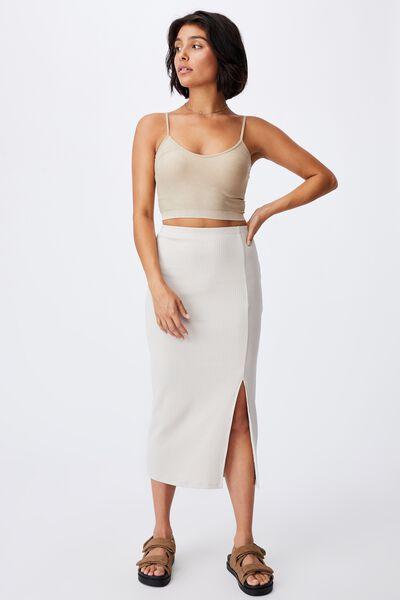 Essential Split Midi Skirt, TAUPE