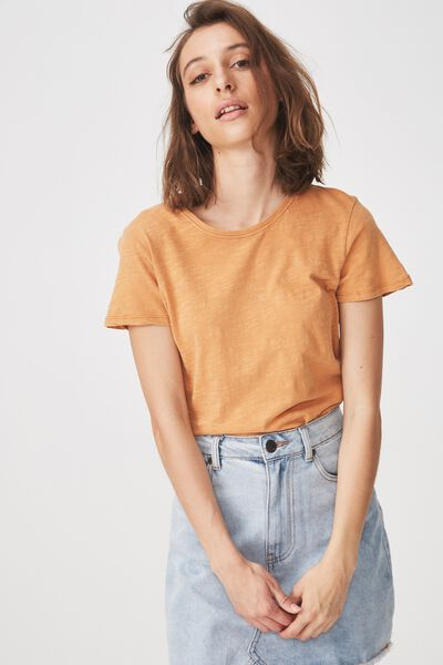 The Crew T Shirt, WASHED HONEY BROWN