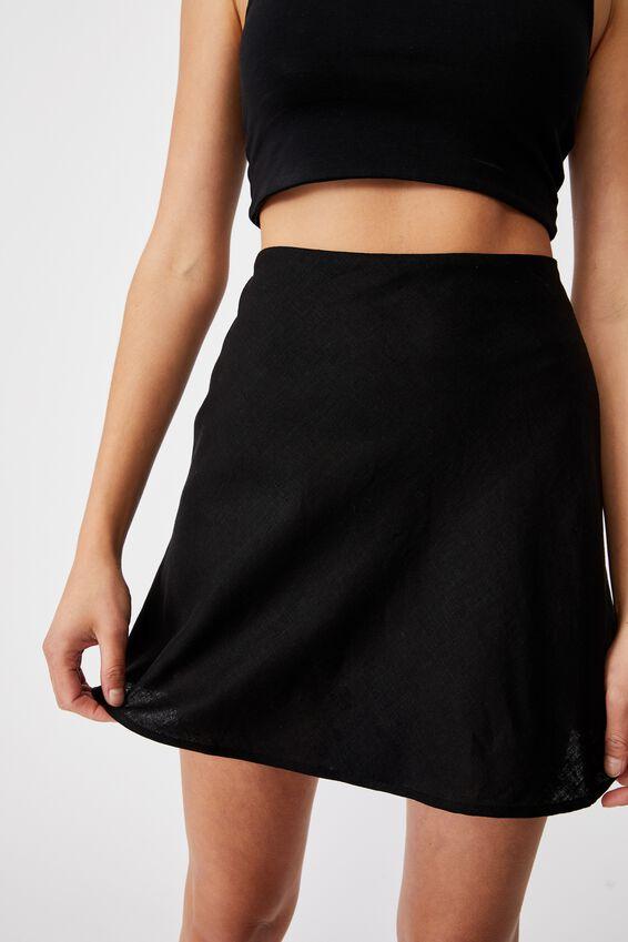 Simple Slip Mini Skirt, BLACK