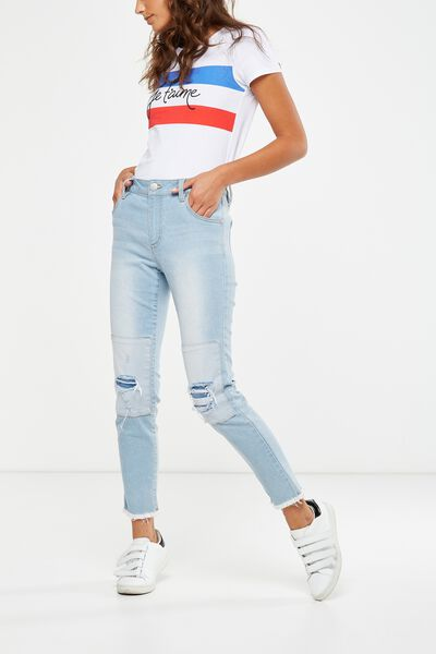 Mid Rise Grazer Skinny Jean 2, BABY BLUE KNEE PATCH