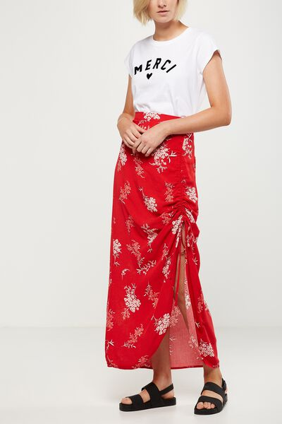 Woven Elora Rouched Maxi Skirt, STEVIE FLORAL CHINESE RED
