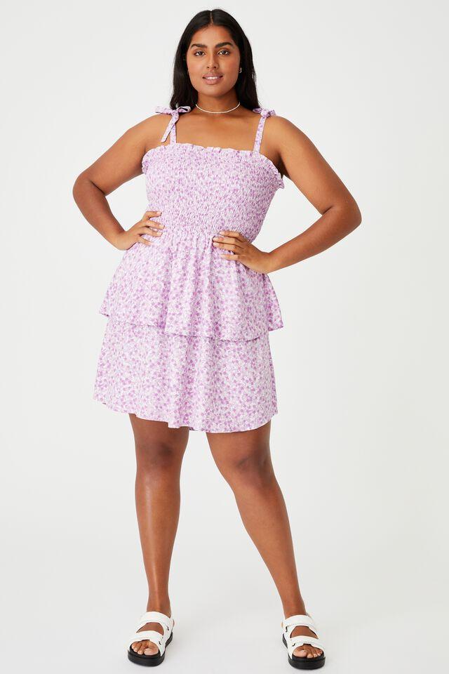 Curve Woven Emma Mini Tiered Dress, QUINN DITSY LILAC