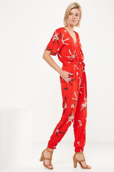 Woven Olivia V Neck Cuffed Jumpsuit, TROPICAL IRIS FLAME SCARLET