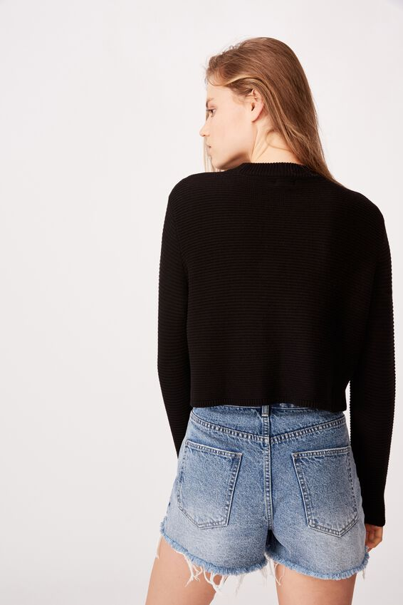 Cotton Cropped Pullover, BLACK