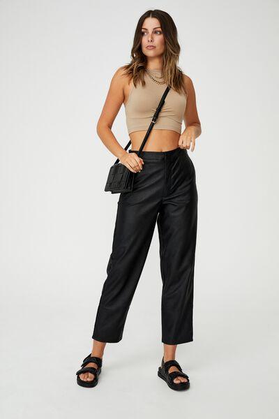 Vegan Leather Tapered Pant, BLACK