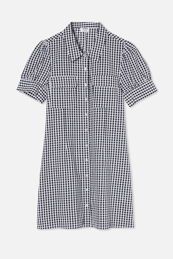 Woven Dolly Seersucker Shirt Dress, BETHANY GINGHAM BLACK