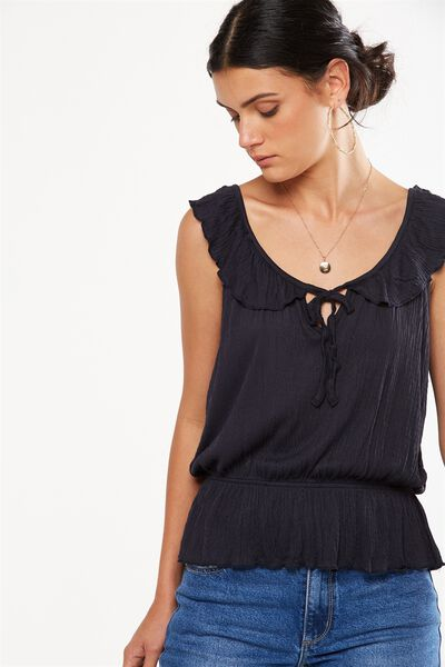 Lucy Ruffle Strap Top, DEEPEST NAVY