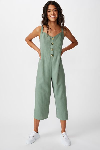 Woven Ada Strappy Jumpsuit, GREEN BAY