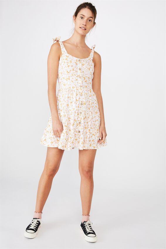 Woven Stevie Tiered Mini Dress, PHOENIX DITSY WHITE