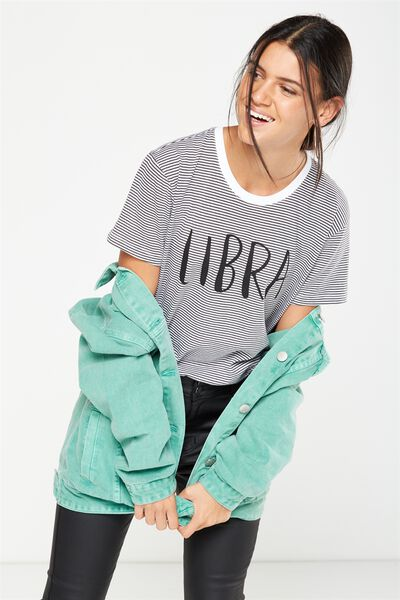 Tbar Fox Graphic T Shirt, LIBRA/WHITE AND GREYSCALE STRIPE