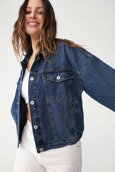 Cinched Hem Denim Jacket, TRINITY BLUE
