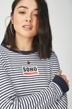 Tbar Tammy Chopped Graphic Long Sleeve Tee, SOHO MOONLIGHT STRIPE/WHITE